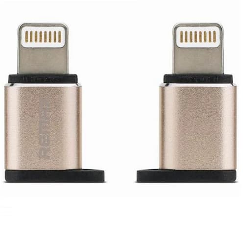 ADAPTADOR REMAX RA-USB2, MICRO USB /TIPO LIGHTING, DORADO