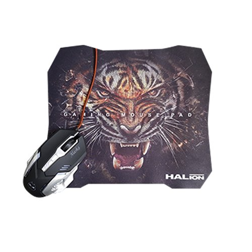KIT GAMING MOUSE Y PAD MOUSE HALION HA-920P, RGB, NEGRO