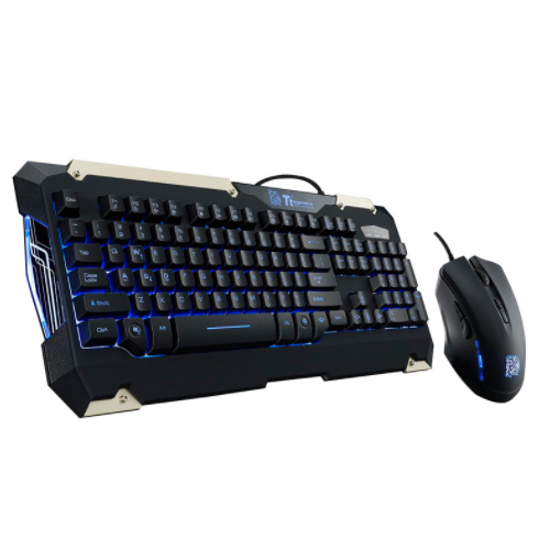 KIT GAMING TECLADO Y MOUSE TTESPORTS BY THERMALTAKE COMMANDER KB-CMC-PLBLSP-01, LED , NEGRO
