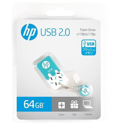 MEMORIA USB FLASH DRIVE HP V178B, 64 GB, TURQUESA/BLANCO