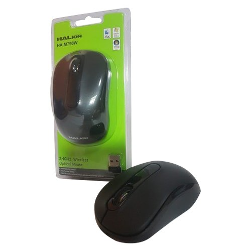 MOUSE OPTICO INALAMBRICO HALION HA-790W,USB,NEGRO